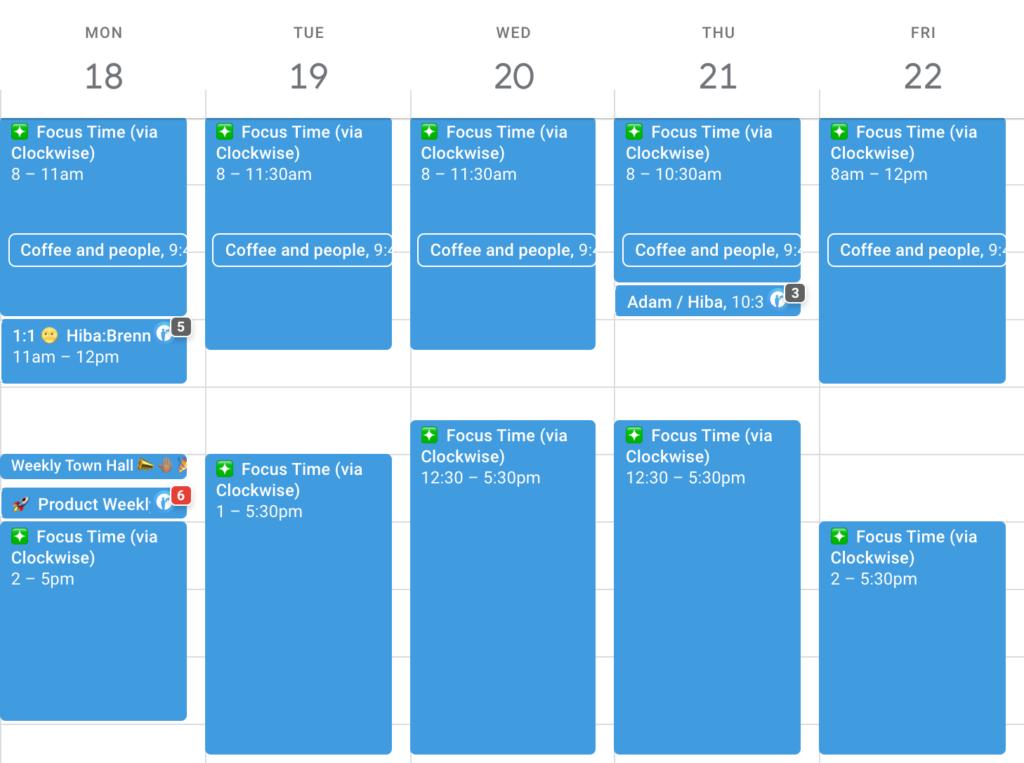 Hiba's calendar pre-hiring