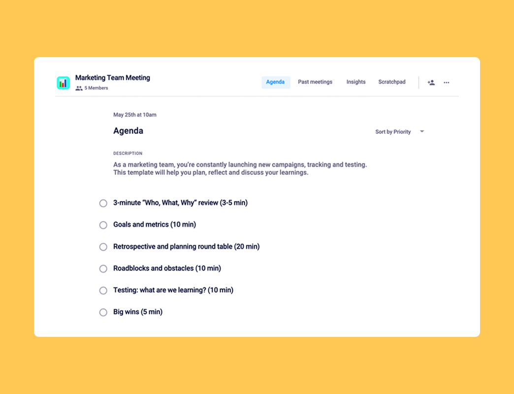 Marketing meeting agenda template