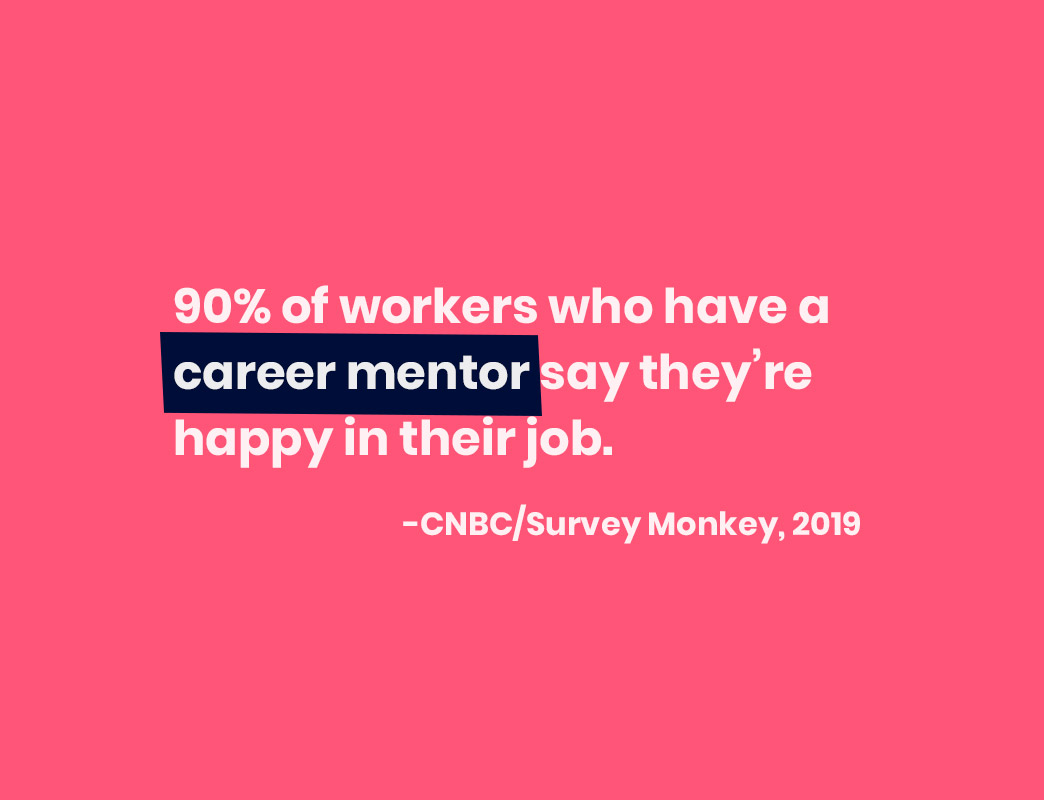 The benefits of mentorship programs- 90% of workers who have a career mentor say they're happy in their job