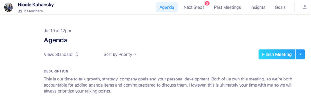 add a meeting description and objective in hypercontext