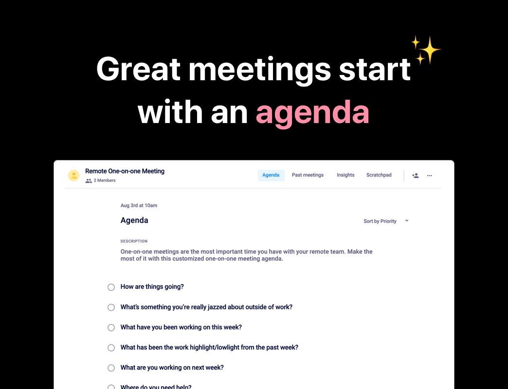 Meeting agenda examples