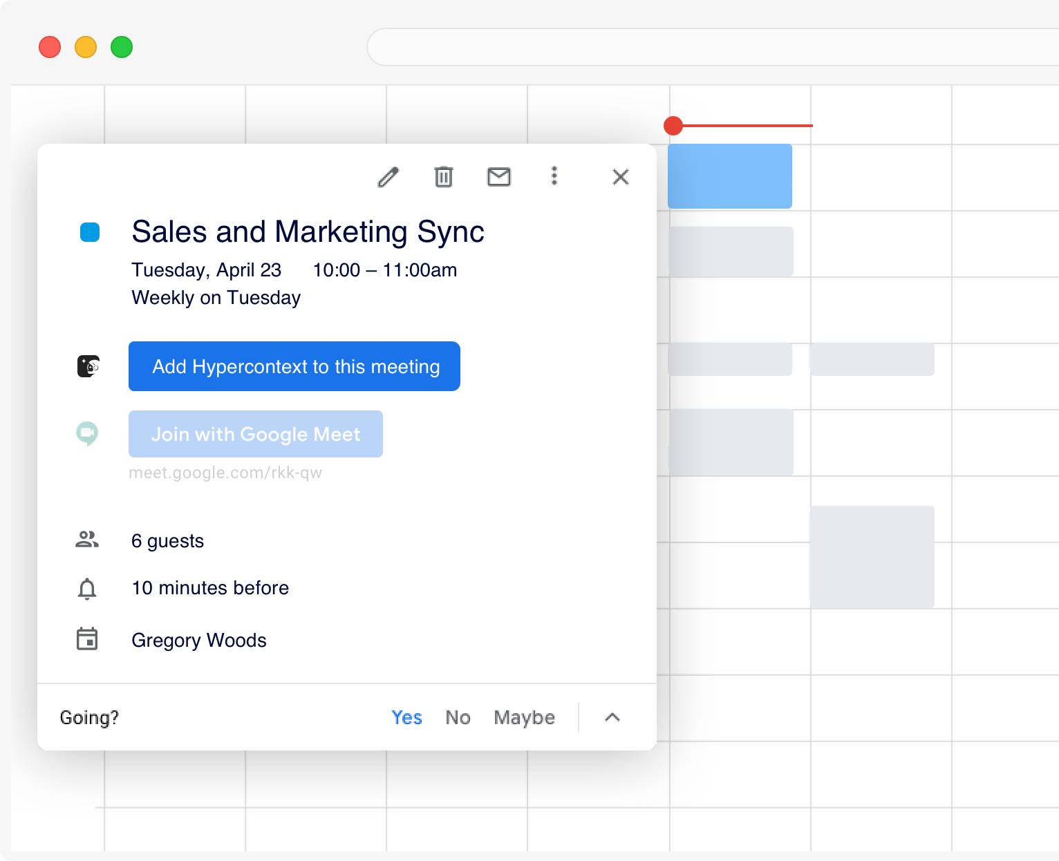 create agenda from calendar events hypercontext