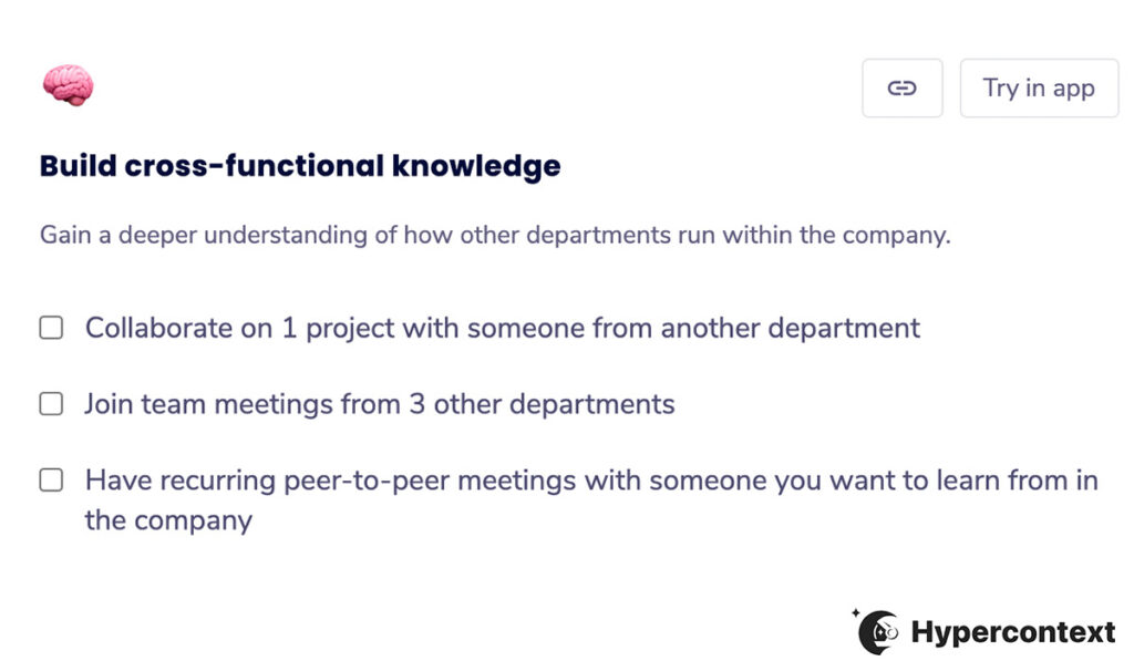 professional development goal- build cross functional knowledge