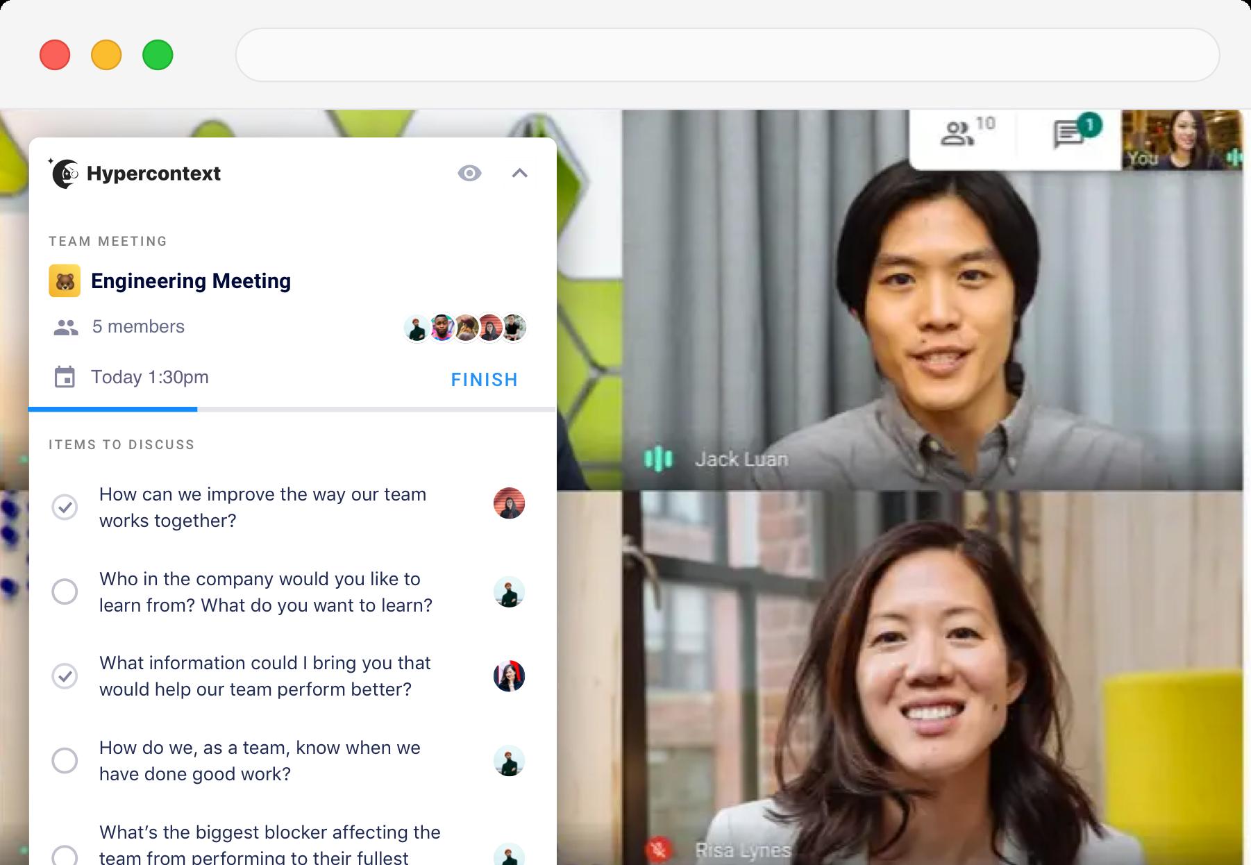 meeting agendas in google meet chrome extension