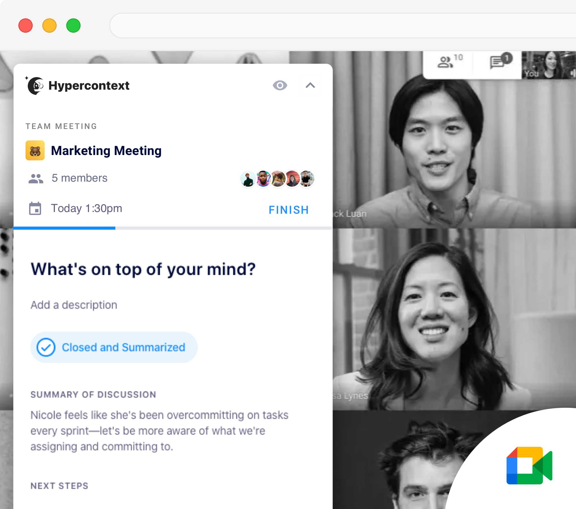 meeting minutes from google meet