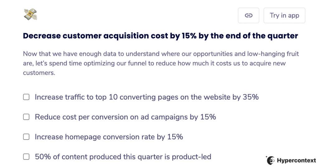 OKR example- decrease customer acquisition