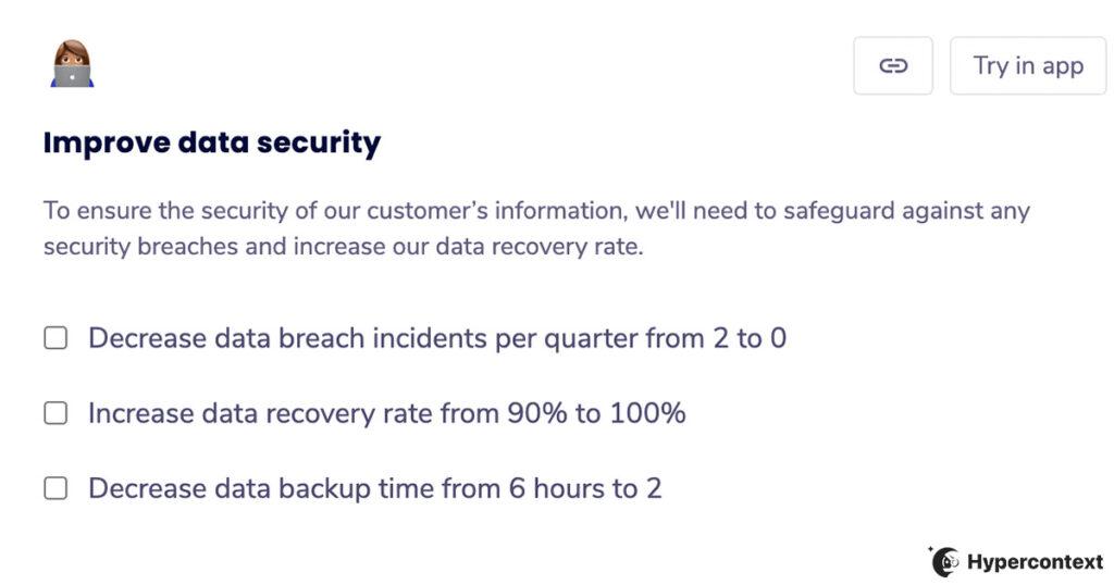 OKR example- Improve data security