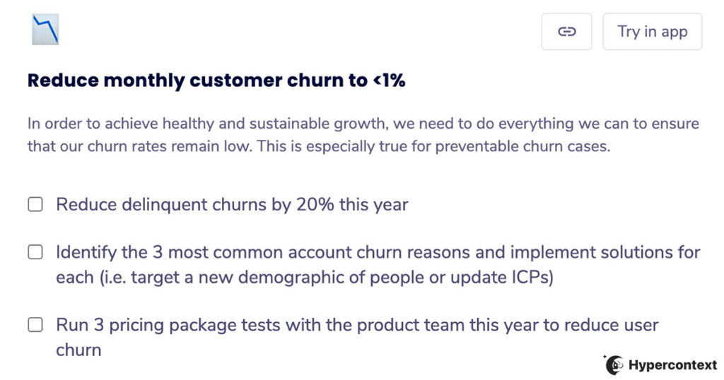 OKR example- reduce monthly churn
