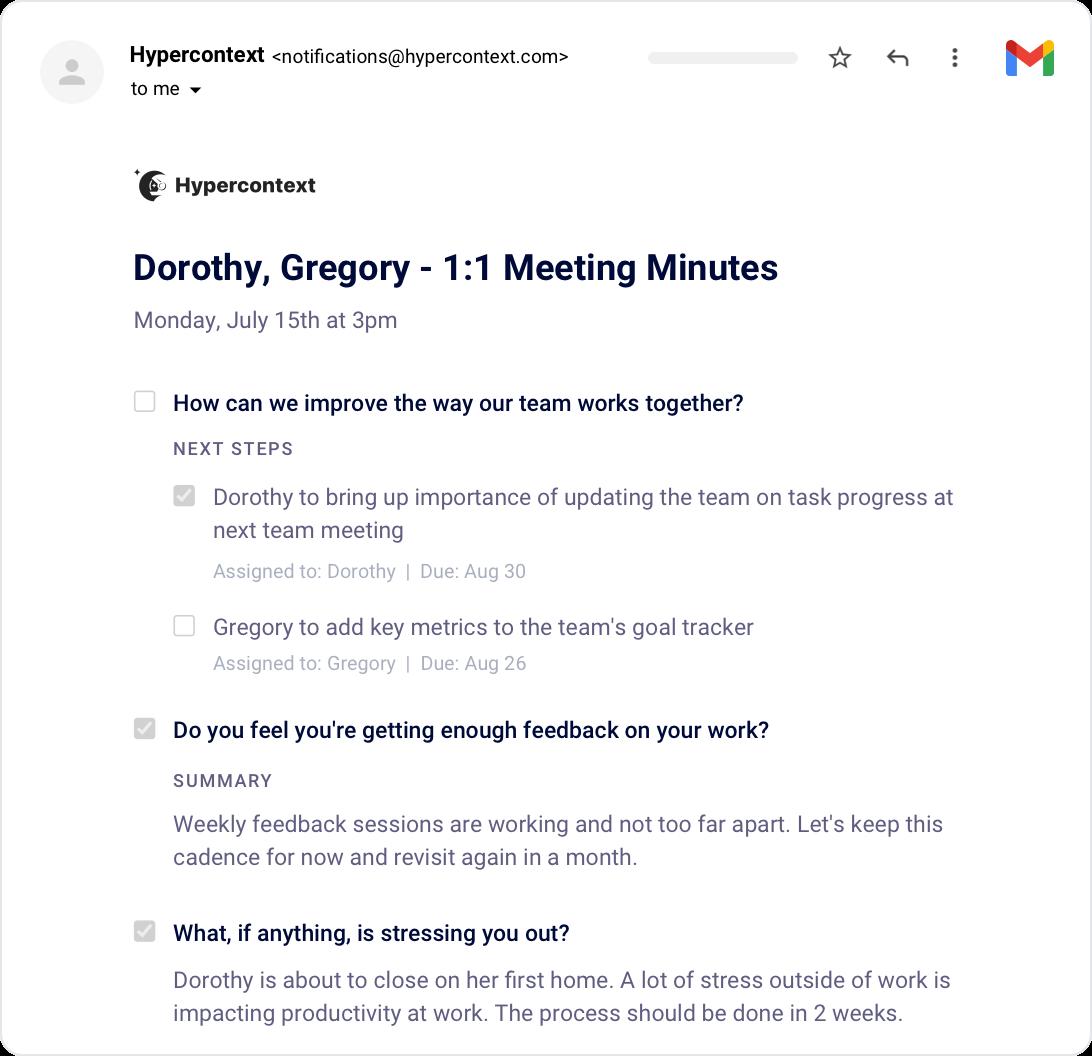 1:1 meeting minutes