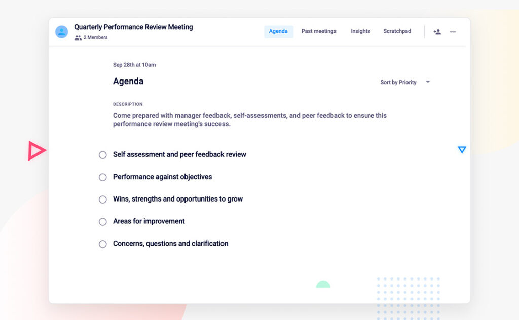 Quarterly performance review agenda template
